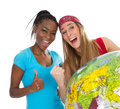 Best friends from another continent two women with globe isolated on white Royalty Free Stock Image