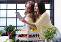 Best friends cooking two girls in the kitchen Stock Photography