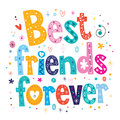 Best friends forever decorative type lettering design Stock Images