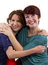 Best friends forever two women posing on white background as Stock Images