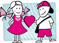 Best friends photo of two good illustration of boy and girl give heart Stock Photo