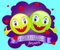 Best friends smiling faces. Vector design. Concept