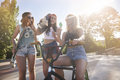 Best friends in summer time all day spent the skatepark with my girls Royalty Free Stock Photography
