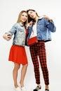 Best friends teenage girls together having fun, posing emotional on white background, besties happy smiling, lifestyle