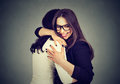 Best friends two women hugging each other