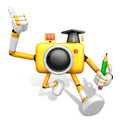 The best gesture of the left hand is taking master yellow camera character right grasp pencil create d robot Stock Images