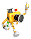 The best gesture of the left hand is taking master yellow camera character right grasp pencil create d robot Stock Photography