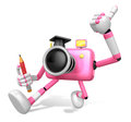 The best gesture of the right hand is taking master pink camera character left grasp pencil create d robot series Stock Image