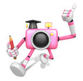 The best gesture of the right hand is taking master pink camera character left grasp pencil create d robot series Royalty Free Stock Photo