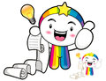 Best gesture right hand taking master rainbow mascot left hand roll paper emblem character design series Stock Photo