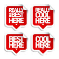 The best here stickers speech bubble Royalty Free Stock Photography