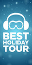 Best holiday tour on blue background and ski goggles with snow headphones Royalty Free Stock Photo