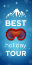 Best holiday tour and mountain with ski goggles red on blue background Royalty Free Stock Photos