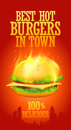 Best hot burgers in town design. Royalty Free Stock Photography
