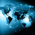 Best Internet Concept of global business. Globe, glowing lines on technological background. Wi-Fi, rays, symbols