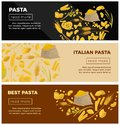 Best Italian pasta of high quality promotional Internet posters Royalty Free Stock Photo