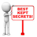 Best kept secrets words on a red banner little d man pointing to the words white background Royalty Free Stock Photos