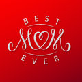 Best mom ever. Vector red mother`s day greeting card vector template.