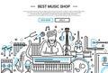 Best Music Shop - website header banner template Royalty Free Stock Photo