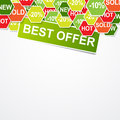 Best offer with many promotion signs Stock Photography