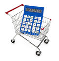 Best offer one shopping cart and a calculator with text d render Stock Photography