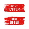 Best offer on red drawn banner text business concept Royalty Free Stock Photography