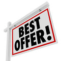 Best Offer White Real Estate Sign Home For Sale Bid Royalty Free Stock Photo