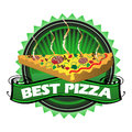 Best pizza green badge with a slice and the text written with white letters Royalty Free Stock Image