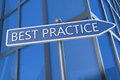 Best practice illustration with street sign in front of office building Royalty Free Stock Photo