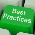 Best practices key shows improving business quality showing Stock Photos