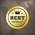 Best product business gold label on crumple paper from background Royalty Free Stock Image