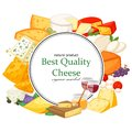 Best quality special cheeses realistic icomposition with edam maasdam parmesan and dorblu, gouda, brie, mozzarella