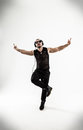 Best rapper dancing break dance .photo on a white background. Royalty Free Stock Photo
