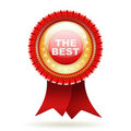 Best red label with ribbons. Royalty Free Stock Photo