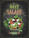 Best salads here, chalkboard menu with greek salad