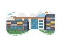 Best School Building Vector in Flat Style Design