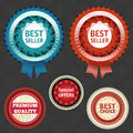 Best seller and choice labels with ribbon eps Stock Image