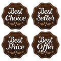 Best seller choice price offer labels vector Stock Images