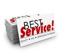 Best service quality dependable fast friendly business cards words on a card stack or pile with terms describing your including Royalty Free Stock Photo