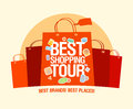 Best shopping tour design template with paper bags Royalty Free Stock Image