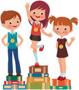 Best students children are the on a pedestal from books Stock Images
