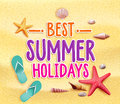 Best summer holidays colorful title words in the beach yellow sand with slippers starfish and sea shells vector illustration Royalty Free Stock Photography