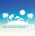 Best summer resort banner design. Tropical beach silhouette with palms and tents on blurred background. Royalty Free Stock Photo