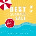 Best summer sale banner on colorful background. Vector eps 10 format