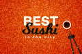 Best Sushi In The City. Promotional Vector Text Design Template With Realistic Black Caviar Over Red. Traditional Royalty Free Stock Photo