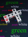 Best to go green text arranged in jigsaw style with uppercase letters on small white cubes and background with choice of colors Stock Photos