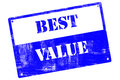 Best value plate illustrated with grunge textures cutout isolate on white background Royalty Free Stock Image
