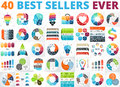 Best vector circle infographics set. Business diagrams, arrows graphs, startup logo presentations and idea charts. Data Royalty Free Stock Photo
