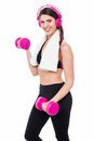 Best way to relax and stay fit girl enjoying music while lifting dumbbells Stock Images