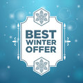 Best winter offer in beautiful frame and snowflake on blue background Stock Images
